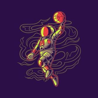 Astronaute de conception de t-shirt sautant avec illustration de basket-ball de basket-ball