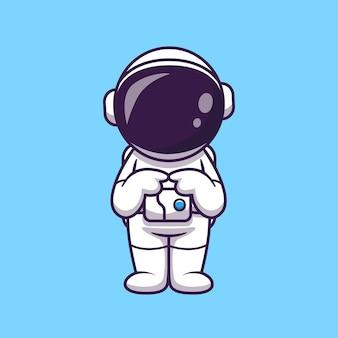 Astronaute confus cartoon illustration. concept de technologie scientifique isolé. style de dessin animé plat