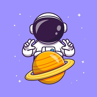 Astronaute contrôle planète cartoon vector icon illustration. concept d'icône de technologie science isolé vecteur premium. style de dessin animé plat
