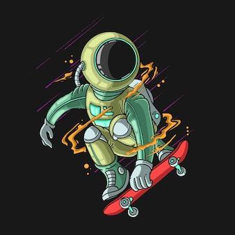 Astronaute cool jouer à la planche à roulettes illustration extrême