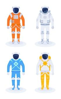 Astronaute et cosmonaute sur blanc
