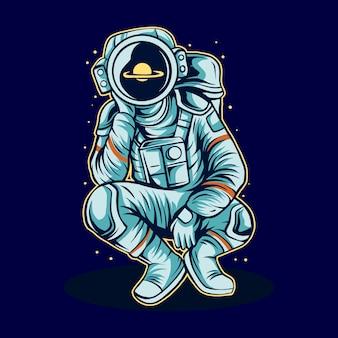 Astronaute cosmonaute rêverie sur l'espace seul illustration
