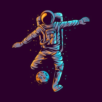 Astronaute coup de pied planète football illustration design