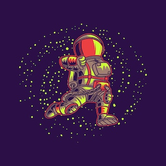 Astronaute courant avec galaxie