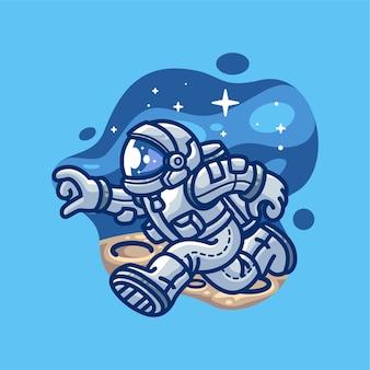 Astronaute, courant, sur, les, lune, illustration, dessin animé