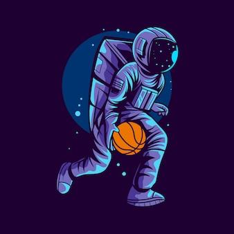 Astronaute en cours d'exécution illustration de basket-ball isolé sur fond sombre