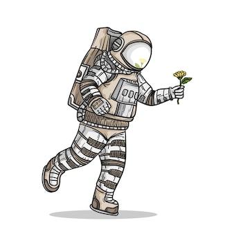 Astronaute en cours d & # 39; exécution isolé sur blanc