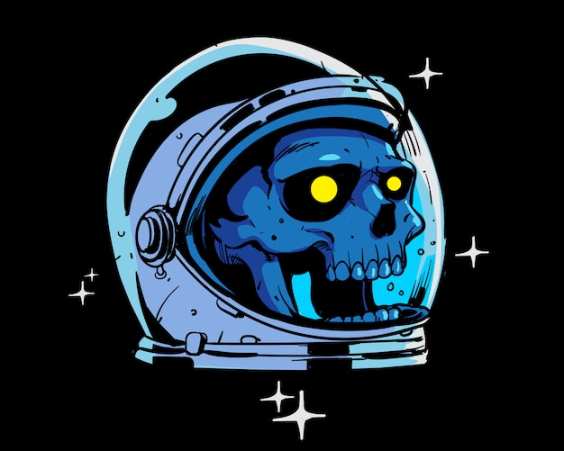 Astronaute crâne illustration couleur