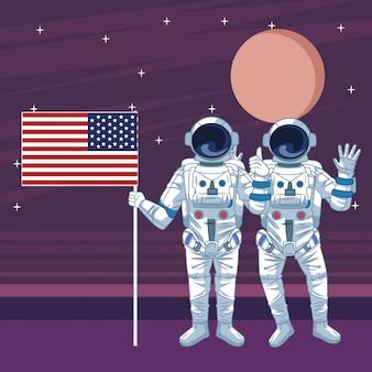 Astronaute dans les dessins animés d'exploration spatiale isolés