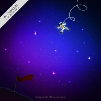 L'astronaute dans l'espace étoilé fond
