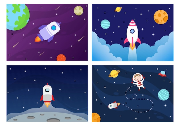 Astronaute, dans, espace extra-atmosphérique, à, fusée, illustration