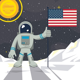 Astronaute dans la lune clouage drapeau usa