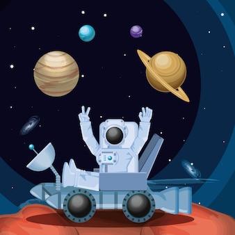 Astronaute dans le personnage de l'espace