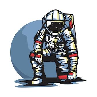 Astronaute dans le vecteur de la lune