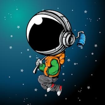 L'astronaute dansant dans le ciel avec de la peinture au rouleau et urban street wear
