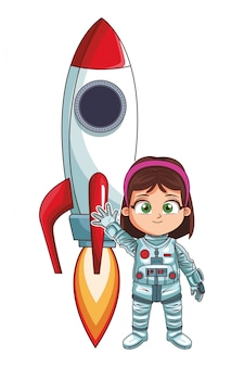 Astronaute debout fille