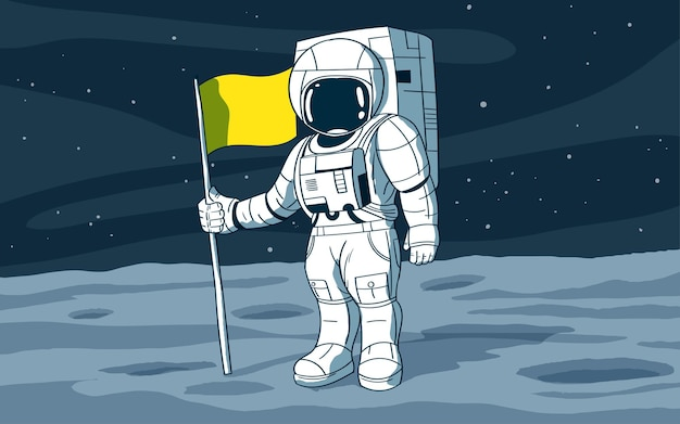 Astronaute debout sur la lune avec fla