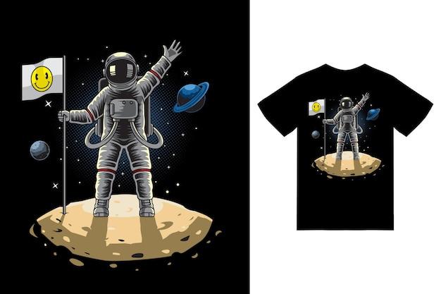 Astronaute debout tenant le drapeau sur l'illustration de la lune avec un vecteur premium de conception de tshirt