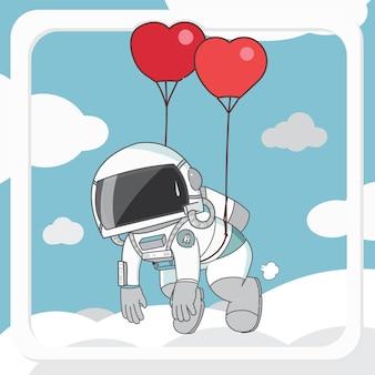 Astronaute de dessin animé flottant par illustration de personnage de ballons coeur.