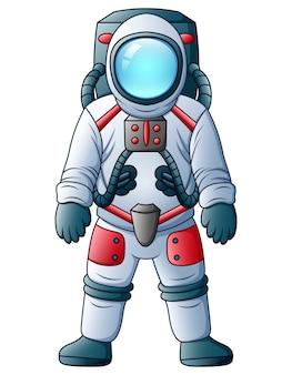 Astronaute de dessin animé isolé sur fond blanc
