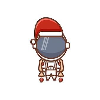 Astronaute de dessin animé mignon avec chapeau de noël