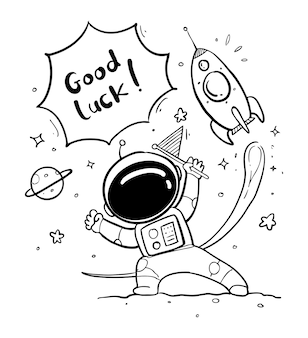 Astronaute dessiné à la main