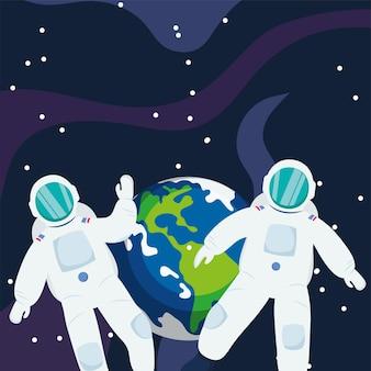 Astronaute devant la terre dans l'espace de l'univers