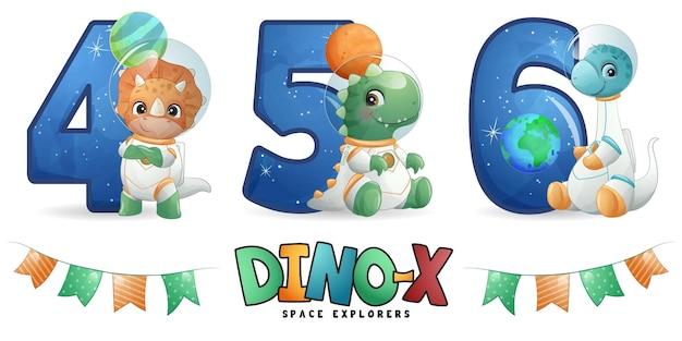 Astronaute dinosaure mignon avec jeu d'illustrations de numérotation