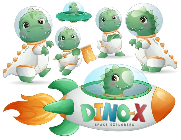 L'astronaute de dinosaure mignon pose dans un ensemble d'illustrations de style aquarelle