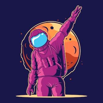 L'astronaute dit bonjour de l'illustration de l'espace
