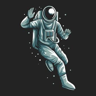 L'astronaute dit salut salut conception fond sombre