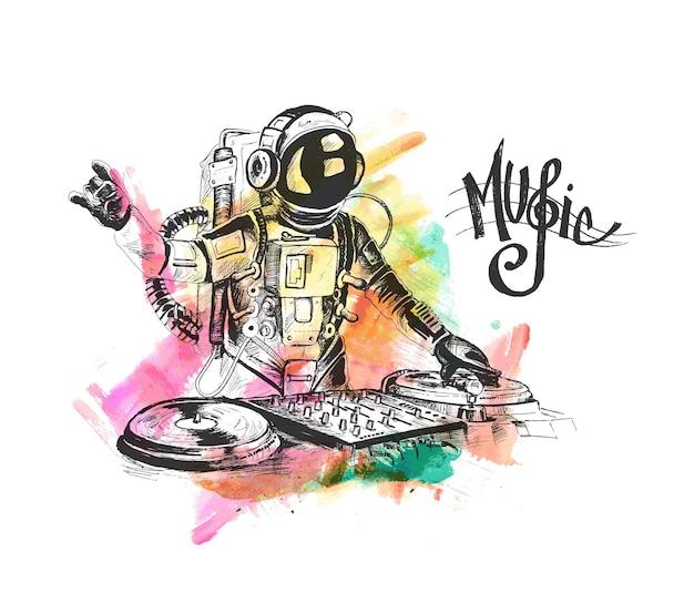 Astronaute dj avec console hand drawn sketch vector illustration