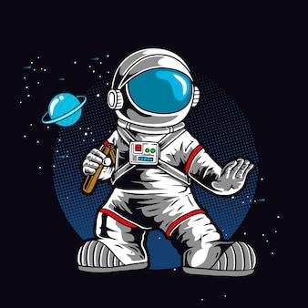 Astronaute avec double bâton