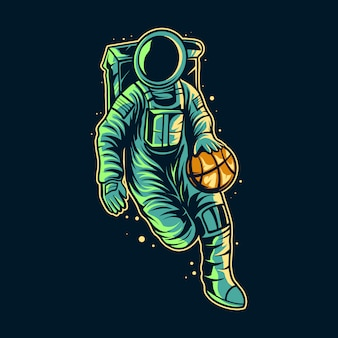 Astronaute dribble basket ball sur la conception d'illustration de l'espace