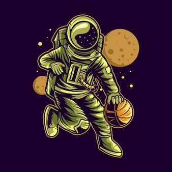 Astronaute dribble basket ball sur l'illustration de l'espace