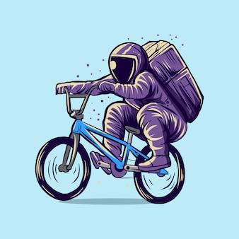 Astronaute équitation conception d'illustration de course bmx