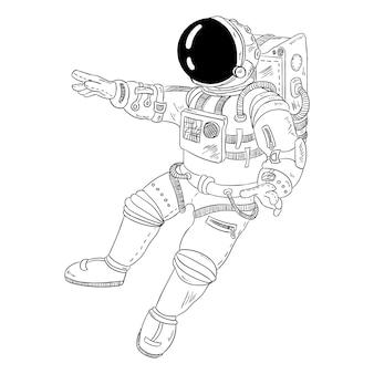 Astronaute étirant sa main