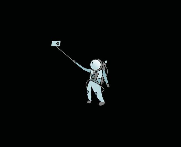 L'astronaute fait selfie - flat line art design illustration.