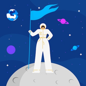 Astronaute femelle sur mood flat