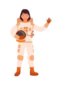 Astronaute de femme brune caucasienne sur fond blanc