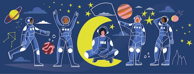 Astronaute de femmes dans la bannière d'illustration de ligne de vecteur d'espace de scaphandre spaceman de fille en costume
