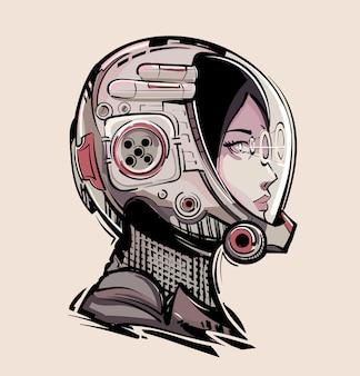 Astronaute de fille de cyberpunk dans l'art futuriste de casque