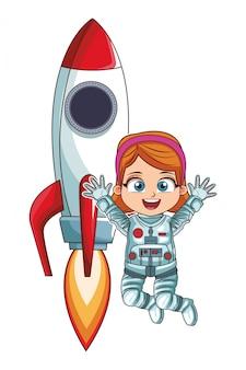 Astronaute, fille, sauter, fusée