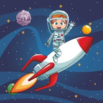 Astronaute fille voler sur un vaisseau spatial