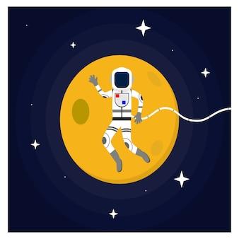 Astronaute flottant dans le concept de design plat de l'espace extra-atmosphérique