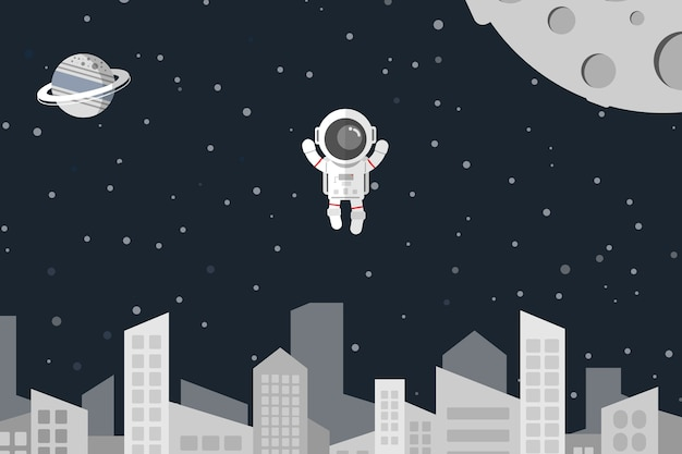 Astronaute flottent dans la ville de l'espace