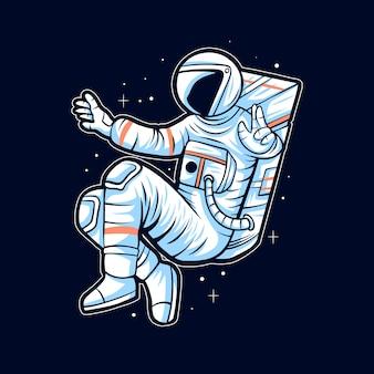 Astronaute flottent sur les illustrations de l'espace illustration