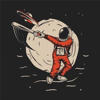 L'astronaute a frappé l'illustration de l'ovni