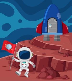 Astronaute et fusée sur la planète