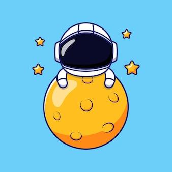 Astronaute heureux mignon étreignant la lune